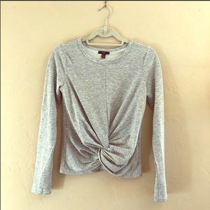 Anthro DREW grey twist front sweatshirt sweater XS